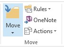 Screen shot of the Outlook to OneNote button