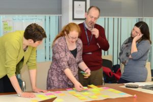 Me discussing a storyboard with a programme team at a Learning Design Workshop.