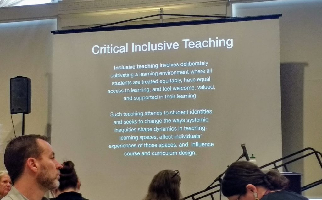 A slide titled: Critical Inclusive Teaching