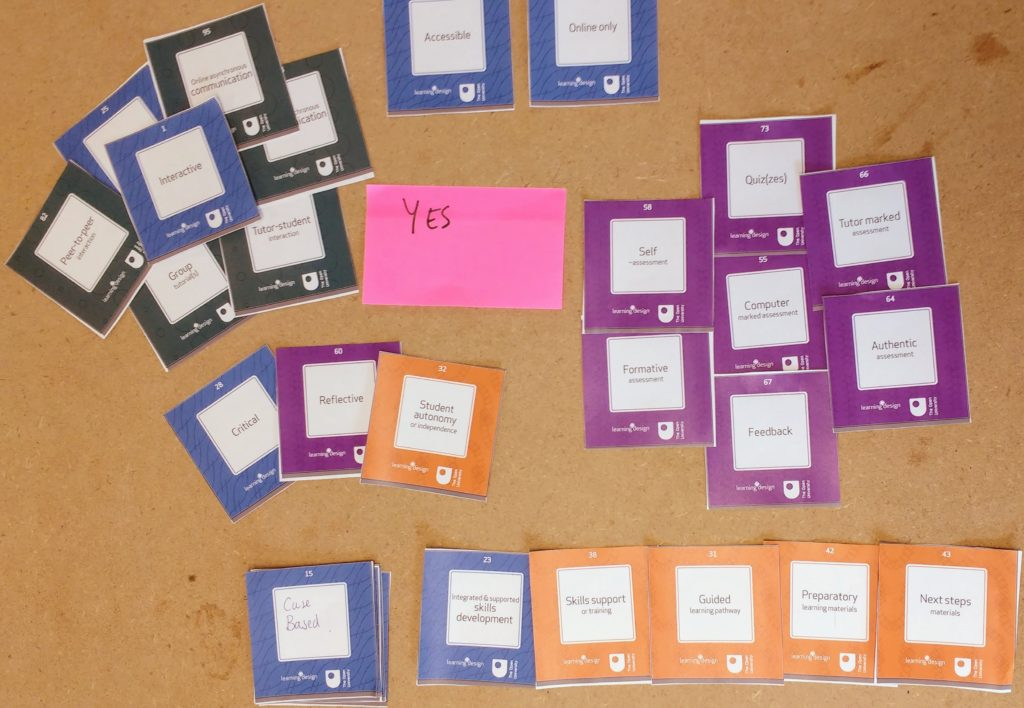 "The outcome of a ""Look and feel"" card sort exercise for a course design workshop."