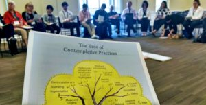 A circle of people sit across the room as I look down at the Tree of Contemplative Practices