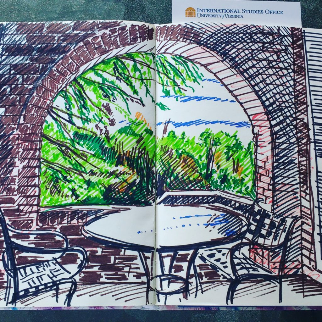 A felt pen drawing of the View from the Veranda at the Lorna Sudberg Centre